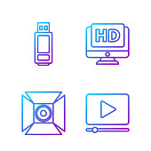Set line Online play video, Movie spotlight, USB flash drive and Monitor with HD video. Gradient color icons. Vector