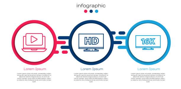 stockillustraties, clipart, cartoons en iconen met stel lijn online afspelen video, smart display met hd-video en tv-scherm met 16k. business infographic template. vector - breed