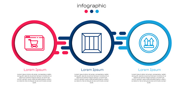 Set line Online shopping on screen, Wooden box and This side up. Business infographic template. Vector