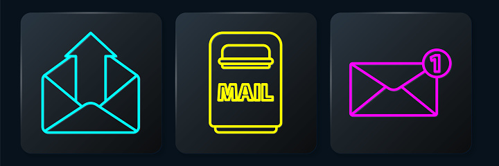 Set line Outgoing mail, Envelope and Mail box. Black square button. Vector