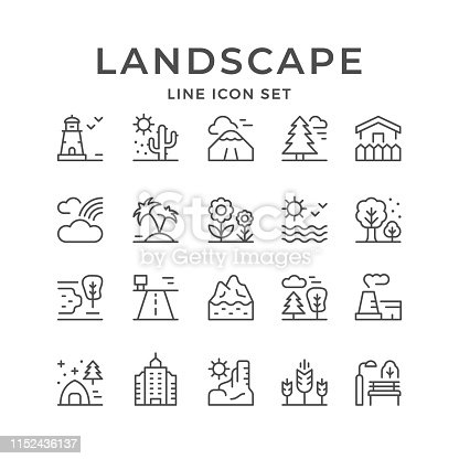 Set line outline icons of landscape isolated on white. Vector illustration