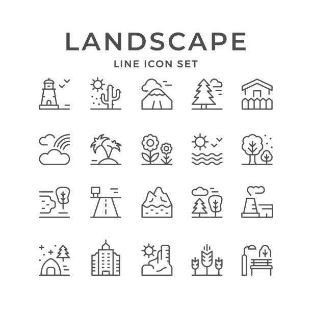 stockillustraties, clipart, cartoons en iconen met set line outline iconen van het landschap - garden house