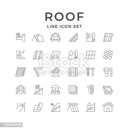 Set line outline icons of roof isolated on white. House construction, different types of tile, insulation, attic ladder, ventilation pipe, chimney, sealant, construction service. Vector illustration