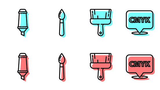 Set line Paint brush, Marker pen, Paint brush and Speech bubble with text CMYK icon. Vector