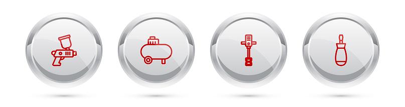 Set line Paint spray gun, Air compressor, Electrical hand concrete mixer and Screwdriver. Silver circle button. Vector
