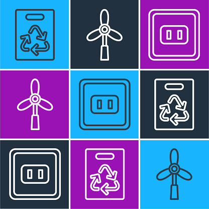 Set line Paper bag with recycle, Electrical outlet and Wind turbine icon. Vector