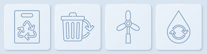 Set line Paper bag with recycle, Wind turbine, Recycle bin with recycle and Recycle clean aqua. White square button. Vector