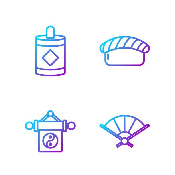ilustraciones, imágenes clip art, dibujos animados e iconos de stock de establecer línea desgarmado chino ventilador plegable, yin yang, fuegos artificiales y sushi - yin yang symbol