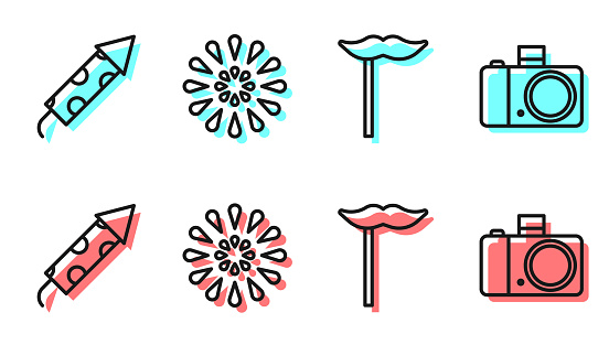Set line Paper mustache on stick, Firework rocket, Firework and Photo camera icon. Vector