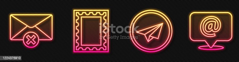 istock Set line Paper plane, Delete envelope, Postal stamp and Mail and e-mail on speech bubble. Glowing neon icon. Vector 1224375910