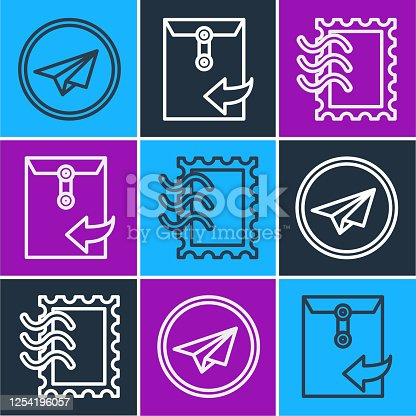 istock Set line Paper plane, Postal stamp and Envelope icon. Vector 1254196057