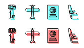 Set line Passport, Aircraft steering helm, Plane and Airplane seat icon. Vector