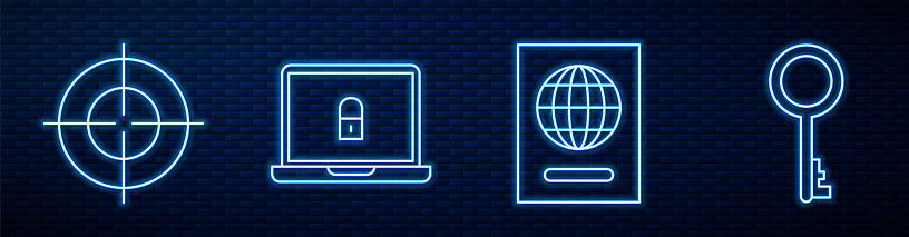 Set line Passport, Target sport, Laptop and lock and Old key. Glowing neon icon on brick wall. Vector
