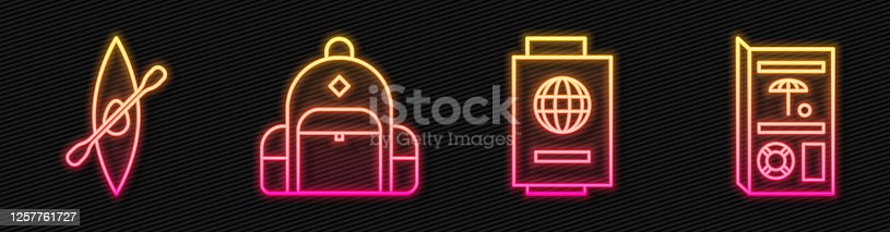 istock Set line Passport with ticket, Kayak or canoe and paddle, Hiking backpack and Travel brochure. Glowing neon icon. Vector 1257761727