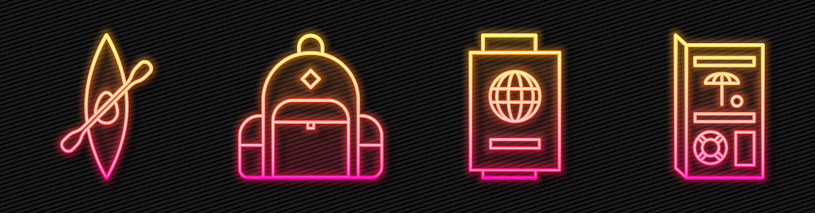 Set line Passport with ticket, Kayak or canoe and paddle, Hiking backpack and Travel brochure. Glowing neon icon. Vector