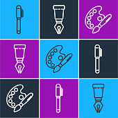 Set line Pen, Paint brush with palette and Fountain pen nib icon. Vector