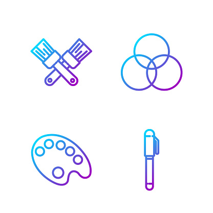 Set line Pen, Palette, Crossed paint brush and RGB and CMYK color mixing. Gradient color icons. Vector