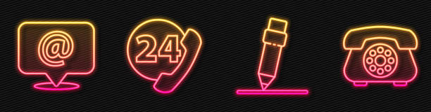 Set line Pencil with eraser, Mail and e-mail, Telephone 24 hours support and Telephone. Glowing neon icon. Vector Set line Pencil with eraser, Mail and e-mail, Telephone 24 hours support and Telephone. Glowing neon icon. Vector switchboard operator vintage stock illustrations