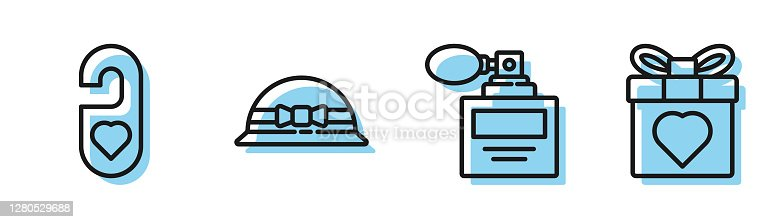istock Set line Perfume, Please do not disturb with heart, Elegant women hat and Gift box and heart icon. Vector 1280529688