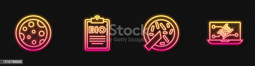istock Set line Petri dish with bacteria, , Document for bio healthy food and Genetic engineering modification. Glowing neon icon. Vector 1316786930