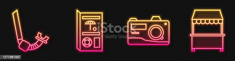 Set line Photo camera, Snorkel, Travel brochure and Street stall with awning. Glowing neon icon. Vector