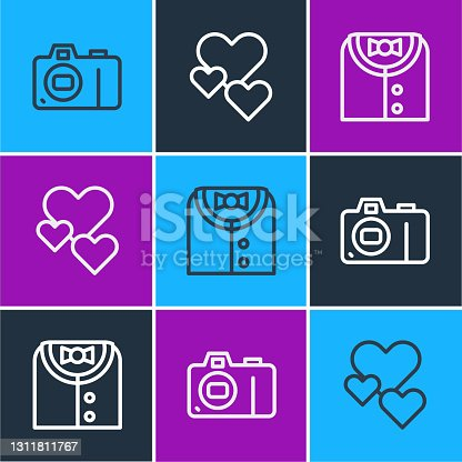 istock Set line Photo camera, Suit and Heart icon. Vector 1311811767