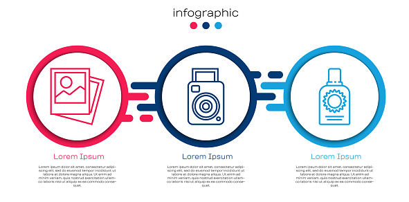 Set line Photo, Photo camera and Sunscreen spray bottle. Business infographic template. Vector