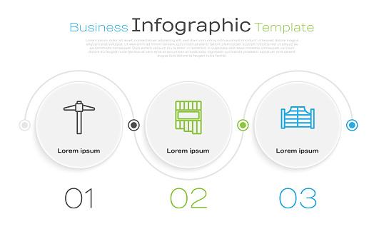 Set line Pickaxe, Pan flute and Saloon door. Business infographic template. Vector.