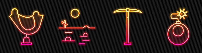 Set line Pickaxe, Wild west saddle, Desert landscape with cactus and Bomb ready to explode. Glowing neon icon. Vector