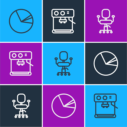 Set line Pie chart infographic, Office chair and Coffee machine icon. Vector
