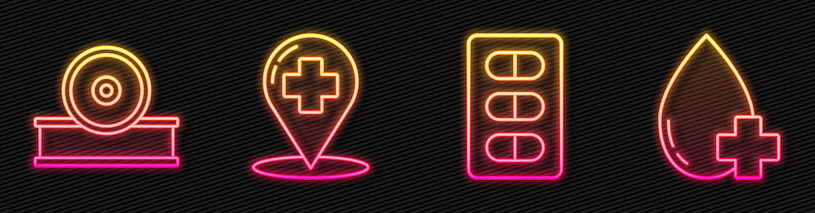 Set line Pills in blister pack, Otolaryngological head reflector, Map pointer with cross hospital and Donate drop blood with cross. Glowing neon icon. Vector