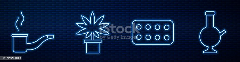 istock Set line Pills in blister pack, Smoking pipe, Marijuana or cannabis plant in pot and Glass bong for smoking marijuana. Glowing neon icon on brick wall. Vector 1272850539