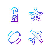 Set line Plane, Beach ball, Please do not disturb and Starfish. Gradient color icons. Vector