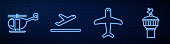 Set line Plane, Helicopter, Plane takeoff and Radar. Glowing neon icon on brick wall. Vector