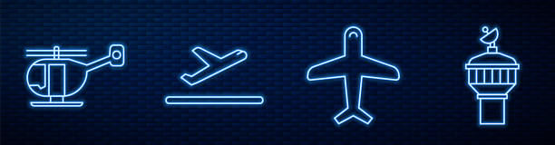 Set line Plane, Helicopter, Plane takeoff and Radar. Glowing neon icon on brick wall. Vector Set line Plane, Helicopter, Plane takeoff and Radar. Glowing neon icon on brick wall. Vector animal body part stock illustrations