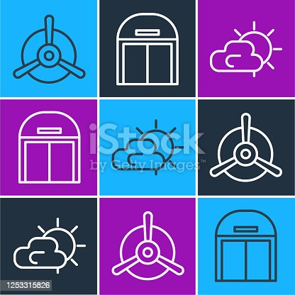 Set line Plane propeller, Sun and cloud weather and Aircraft hangar icon. Vector
