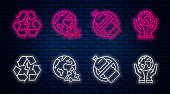 Set line Planet earth and a recycling, No plastic bottle, Battery with recycle symbol and Human hands holding Earth globe. Glowing neon icon on brick wall. Vector