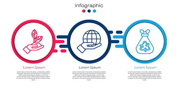 Set line Plant in hand, Hand holding Earth globe and Garbage bag with recycle. Business infographic template. Vector