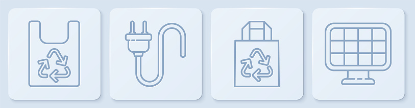 Set line Plastic bag with recycle, Paper bag with recycle, Electric plug and Solar energy panel. White square button. Vector