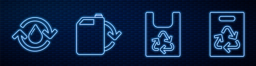 Set line Plastic bag with recycle, Recycle clean aqua, Eco fuel canister and Paper bag with recycle. Glowing neon icon on brick wall. Vector