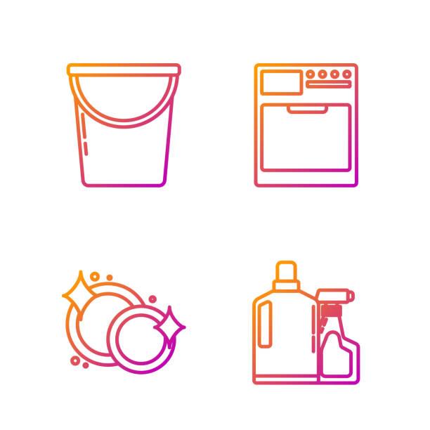 Set line Plastic bottles for liquid dishwashing liquid, Washing dishes , Bucket and Washer . Gradient color icons. Vector Set line Plastic bottles for liquid dishwashing liquid, Washing dishes , Bucket and Washer . Gradient color icons. Vector dishwashing machine stock illustrations