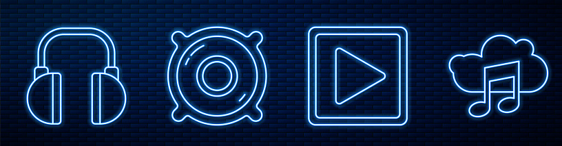 Set line Play in square, Headphones, Stereo speaker, Music streaming service and Vinyl player with a vinyl disk. Glowing neon icon on brick wall. Vector