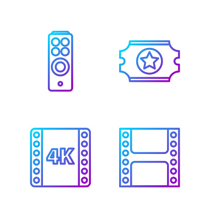 Set line Play Video, 4k movie, tape, frame, Remote control and C