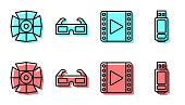 Set line Play Video, Movie spotlight, 3D cinema glasses and USB flash drive icon. Vector