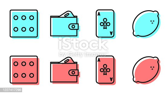 istock Set line Playing card with clubs, Game dice, Wallet with money and Casino slot machine with lemon icon. Vector 1227417295