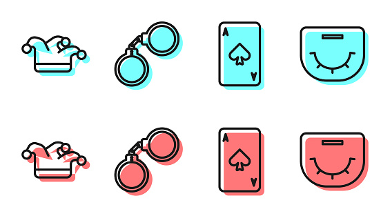 Set line Playing card with spades, Joker playing card, Handcuffs and Poker table icon. Vector