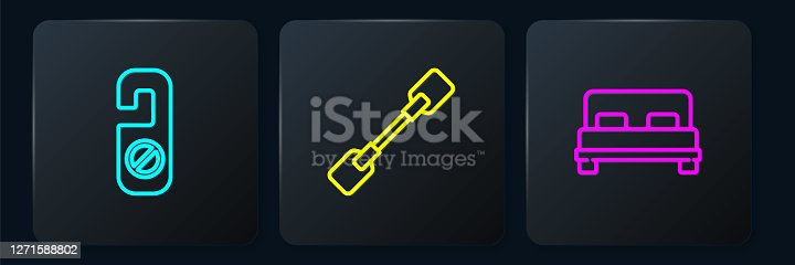 istock Set line Please do not disturb, Big bed and Paddle. Black square button. Vector 1271588802