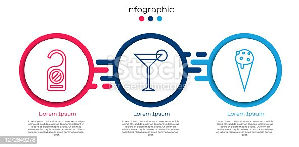 istock Set line Please do not disturb, Martini glass and Ice cream in waffle cone. Business infographic template. Vector 1272849278