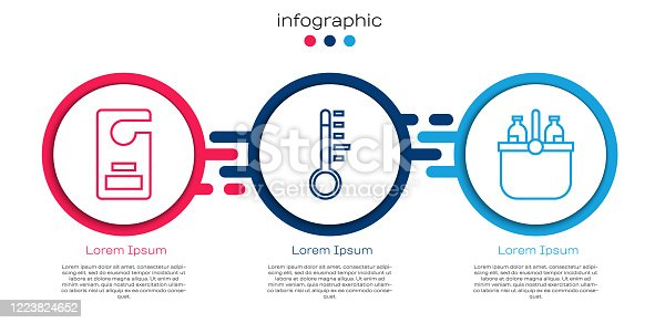 istock Set line Please do not disturb, Meteorology thermometer and Cooler bag and water. Business infographic template. Vector 1223824652
