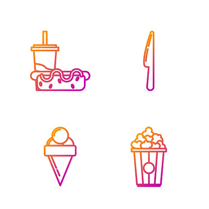 Set line Popcorn in cardboard box, Ice cream in waffle cone, Paper glass with drinking straw and hotdog and Knife. Gradient color icons. Vector
